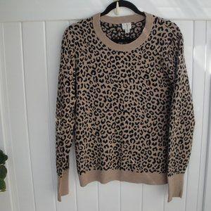 Animal Print Black-Camel Cozy Crew Sweater X